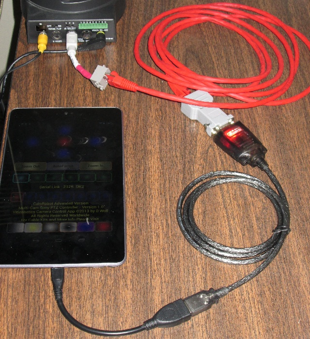 android sony ptz camera control this shows the nexus7 otg cable connected to the usb rs232 cable all linked to the evi d70 camera s visca in connection through